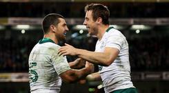 Tommy Bowe, right, scored Ireland's second try to guide them to a famous victory