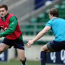 Paddy Jackson, left, will miss Ireland's entire Six Nations campaign with elbow trouble