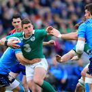 Ian Keatley, with ball, expects to lose his Ireland place to fit-again Johnny Sexton
