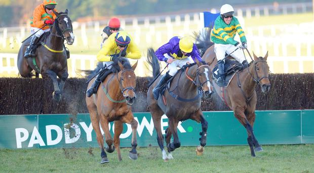 Carlingford Lough (right) still has work to do at the last in the Hennessy