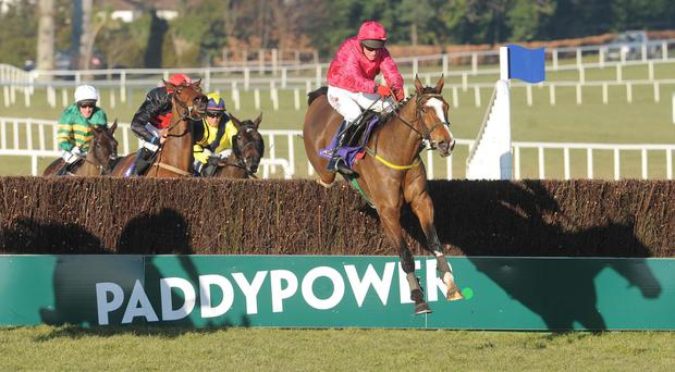 Apache Stronghold (right) jumps the last on his way to securing Grade One honours at Leopardstown