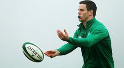 Johnny Sexton, pictured, is expected to replace Ian Keatley at 10 for Ireland's RBS 6 Nations clash against France