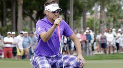 Ian Poulter, pictured, shares the lead with Paul Casey (AP)