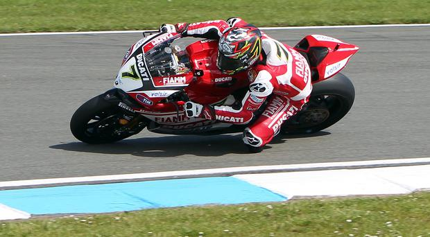 Chaz Davies is on the front row of the grid