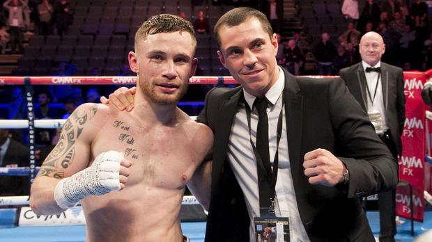 Carl Frampton, left, and Scott Quigg, right, will lokc horns in 2016