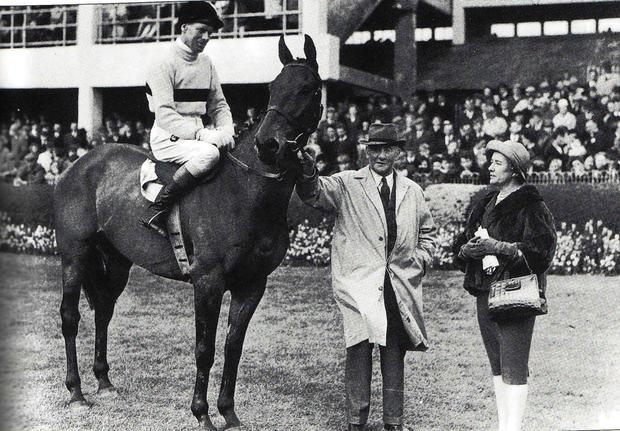 Cheltenham Gold Cup winner Arkle, with Pat Taaffe up, trainer Tom Draper and the horse's owner, Anne,Duchess of Westminster at the 1965 Spring at the RDS