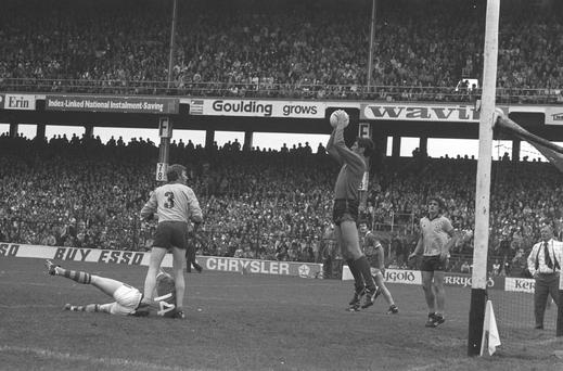 Paddy Cullen makes a save against Kerry during the 1977 All-Ireland semi-final, still acknowledged as the greatest Gaelic football match of all time