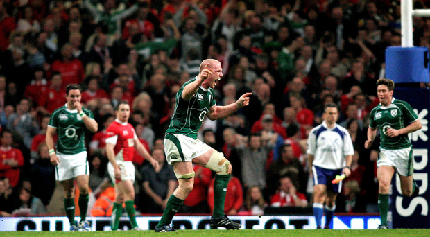 Paul O'Connell celebrates at the final whistle in Cardiff