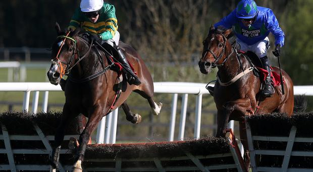 Jezki ridden by Mark Walsh clears the last in front before going on to win the Ladbrokes World Series Hurdle at Punchestown