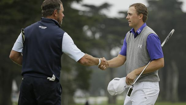 Lee Westwood, left, ended the hopes of Masters winner Jordan Spieth, right (AP)