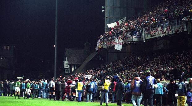 Trouble erupted in the crowd during a match between the Republic of Ireland and England at Lansdowne Road in 1995