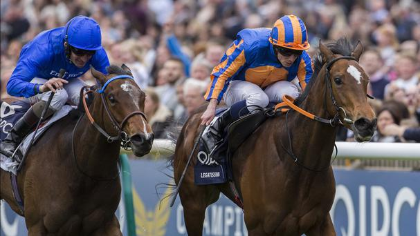 Legatissimo (right) wins the 1000 Guineas