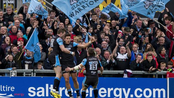 DTH van der Merwe celebrates his try in Glasgow's win
