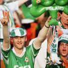 Green army: Irish fans cheer on Ireland as they take on the host nation in the quarter-finals in Rome. Picture credit: Ray McManus / Sportsfile