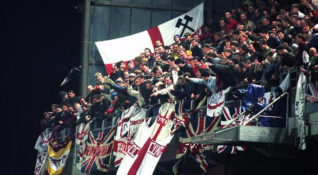 Trouble erupted in the stands the last time England played in Dublin