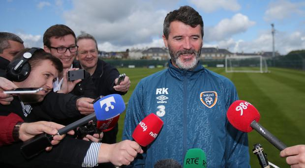 Republic of Ireland assistant manager Roy Keane speaking to the media on Friday
