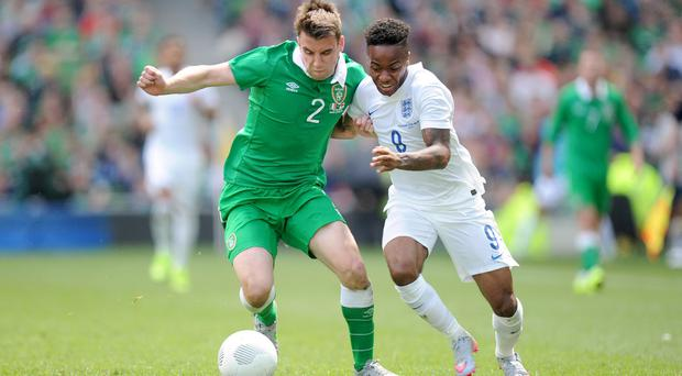 Republic of Ireland defender Seamus Coleman in action against England earlier this year. The two countries could be pitted together in next month's European Championships draw.