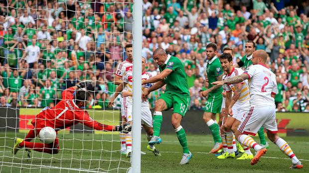 Republic of Ireland's Jonathan Walters scores his side's first goal during the UEFA European Championship Qualifying match at the Aviva Stadium, Dublin.
