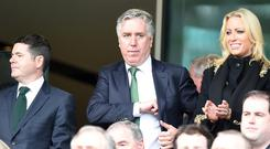 John Delaney, centre, was 'entirely unaware' of the decision to delete his FIFA-related comments from the matchday programme