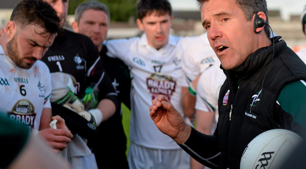 Kildare football manager Jason Ryan addresses his charges