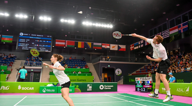 Chloe and Sam Magee in action against Audrey Fontaine and Gaetan Mittelheisser, during their Mixed Doubles semi-final