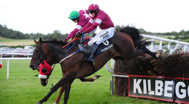 Ravished (near side) jumps the last to win the Midlands National as Akorakor parts company with Kevin Sexton
