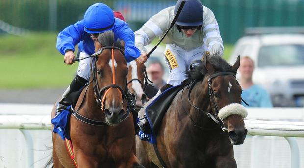 Final Frontier ridden by Shane Foley (left) before winning the Jebel Ali Racecourse & Stables Anglesey Stakes at the Curragh