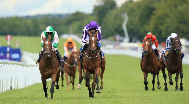 Highland Reel ridden by jockey Joseph O'Brien (centre) on the way to winning the Neptune Investment Management Gordon Stakes