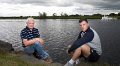 Father and son: Robbie Henshaw, 22, pictured by the Shannon with his dad, Tony, who is also his manager, and coached his rugby teams when he was a child. Photo: Tony Gavin