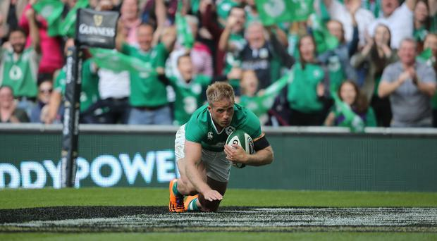 Luke Fitzgerald goes in for a try