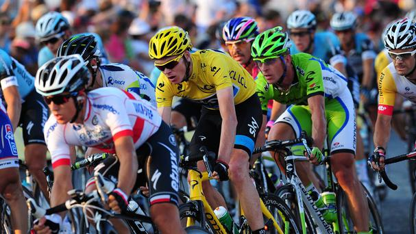 Chris Froome, wearing yellow, lies seventh in the Vuelta a Espana general classification