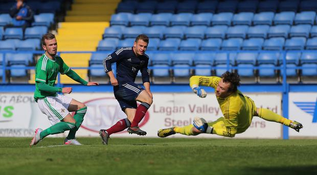 Ryan Fraser pokes in Scotland's winner in Lurgan