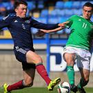 Michael Duffy, right, could not find a winner for Northern Ireland Under-21s in Iceland
