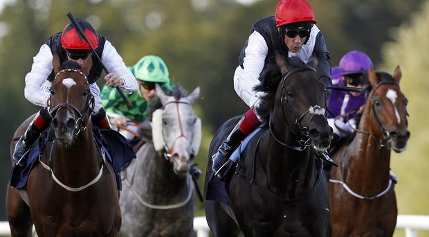 Golden Horn ridden by Frankie Dettori on their way to winning the QIPCO Irish Champion Stakes