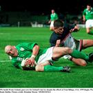 Keith Woods scores against the USA in 1999