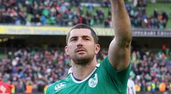 Rob Kearney, pictured, is an injury doubt for Ireland's pivotal World Cup clash with Italy on Sunday