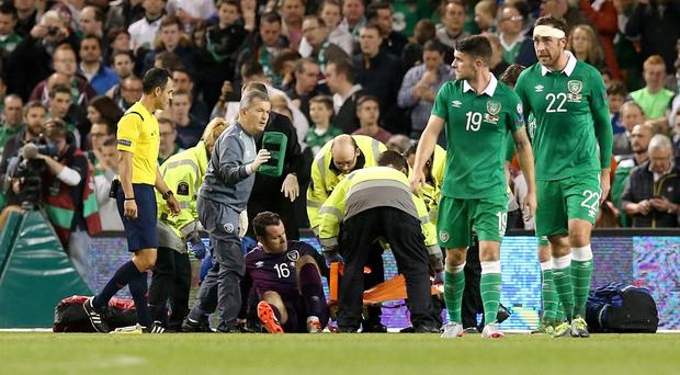 Shay Given suffered an injury against Germany on Thursday