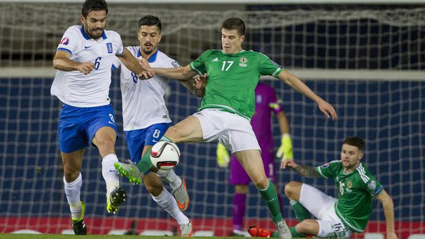 Paddy McNair made his first Northern Ireland start against Greece