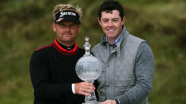 Soren Kjeldsen, left, won this year's Irish Open, which Rory McIlroy, right, will continue to host until 2018