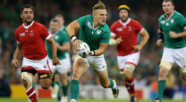 Ian Madigan, centre, has been dubbed Paul Gascoigne by his Ireland team-mates