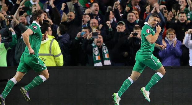 Republic of Ireland's Jonathan Walters celebrates scoring his sides first goal of the match from the penalty spot during the UEFA Euro 2016 Qualifying Playoff second leg at the Aviva Stadium, Dublin.