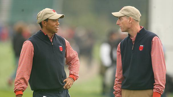 Tiger Woods, left, and Jim Furyk have been named as vice-captains for the 2016 Ryder Cup