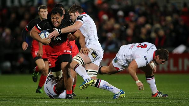 Saracens were reduced to 14 men in the 54th minute when Billy Vunipola, left, was shown a yellow card