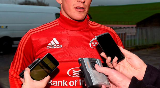 24 November 2015; Ian Keatley, Munster, during a press conference. University of Limerick, Limerick. Picture credit: Diarmuid Greene / SPORTSFILE