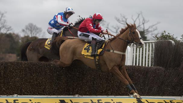 Special Tiara challenging Sire De Grugy in the Tingle Creek