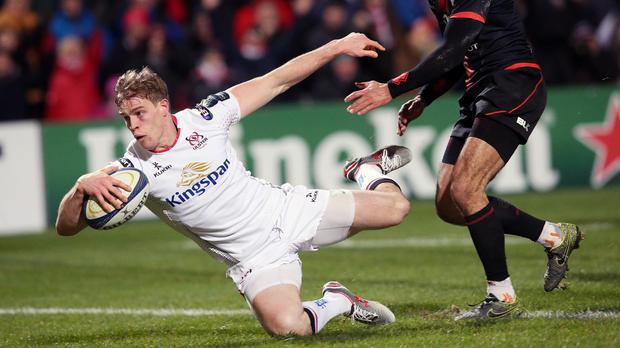 Ulster's Andrew Trimble, left, scores his side's second try