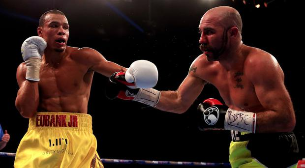Chris Eubank Jr, left, seen fighting Gary O'Sullivan