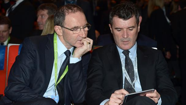 Republic of Ireland manager Martin O'Neill (left), assistant Roy Keane and their players will be based in Versailles next summer