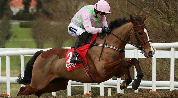 Faugheen wins the Irish Champion Hurdle at Leopardstown