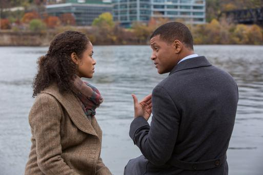 Breaking a taboo: Gugu Mbatha-Raw and Will Smith, who plays Dr Bennet Omalu, in the new film Concussion